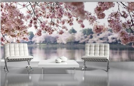 Wallpaper mural Pink flowers Lake & trees